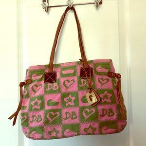 Pink & green Dooney & Bourke tote
